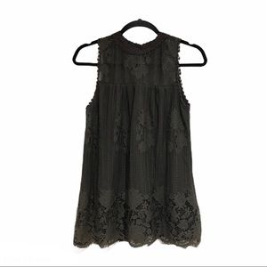 Miss Chievous Grey Lace High Neck Sleeveless top M